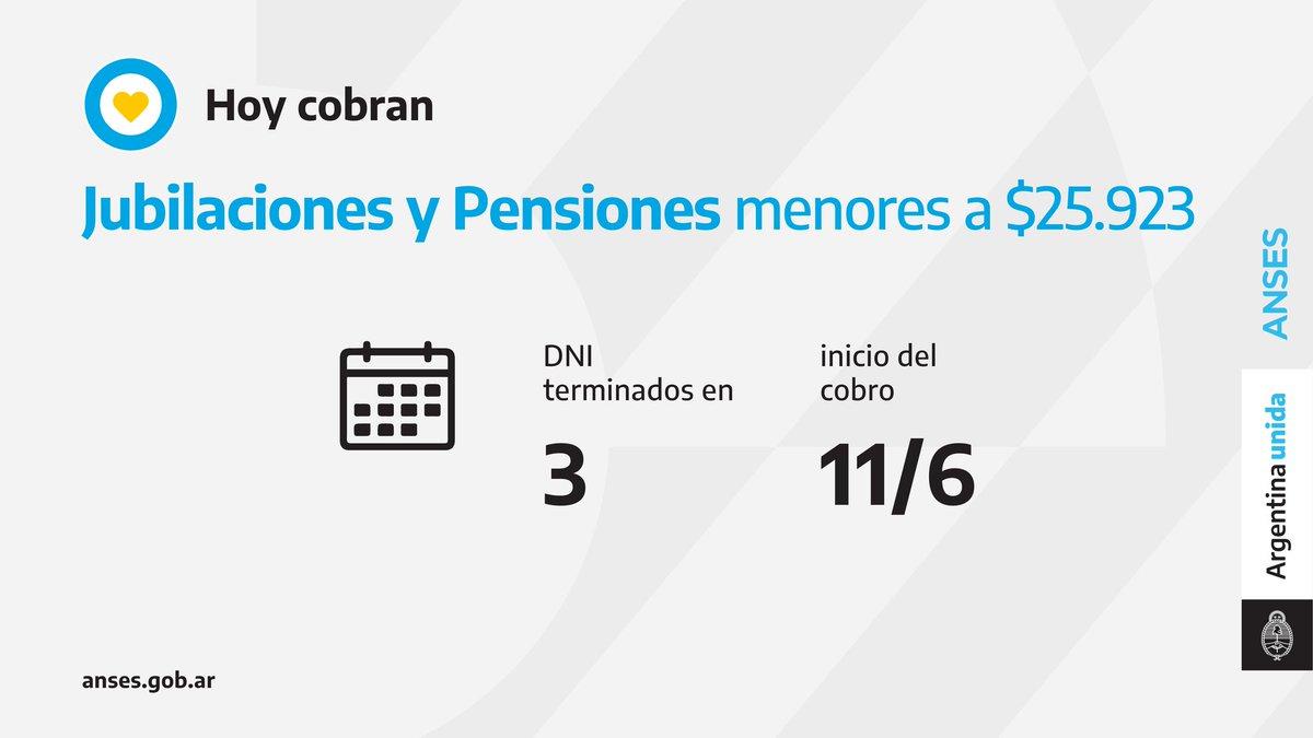 ANSES @ansesgob: ????️ Calendario de pago del 11 de junio: Jubilaciones y Pensiones (haberes que no superen los $25.923). https://t.co/Yd3MM80cBP