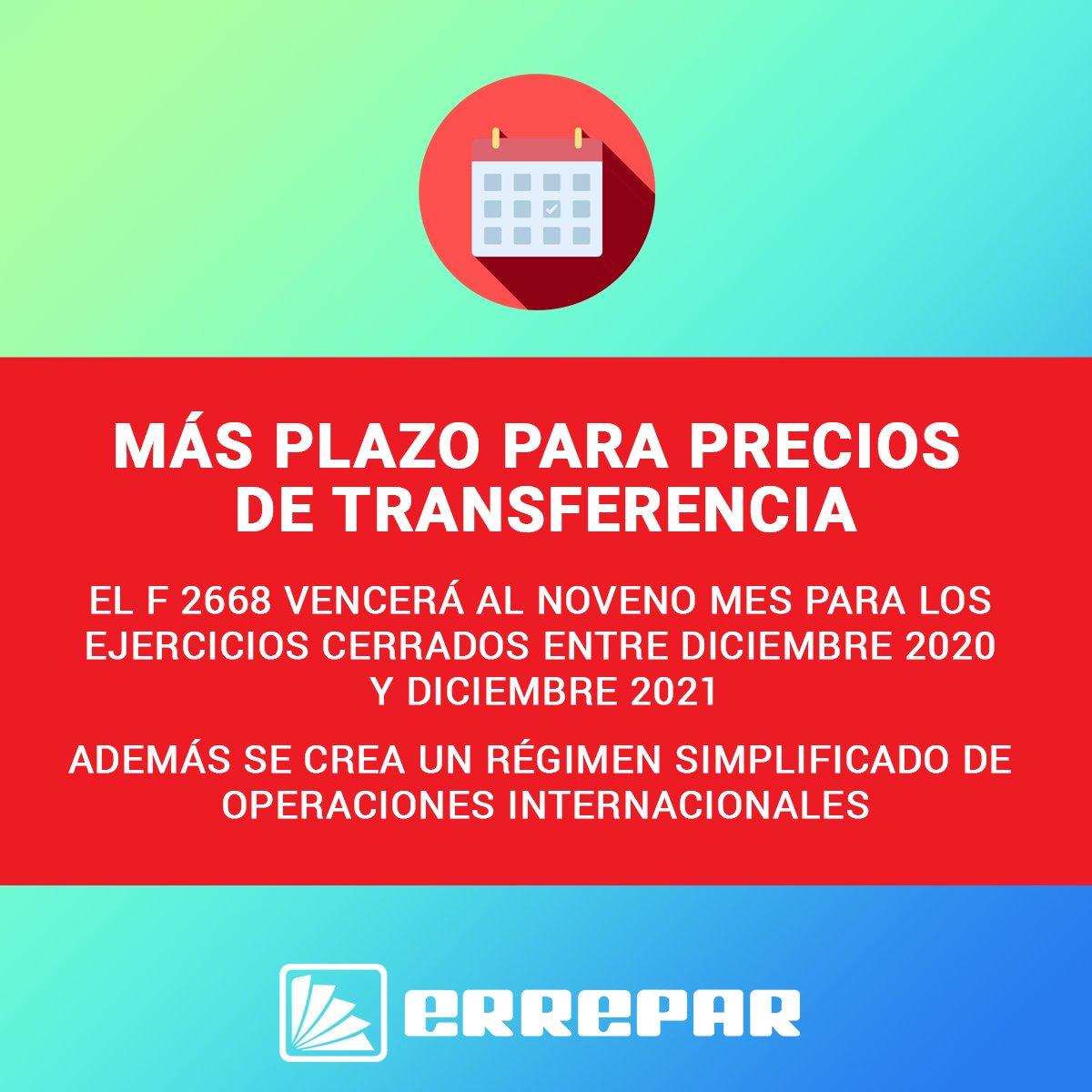 Editorial Errepar @errepar: ???? Los contribuyentes con cierre de ejercicio entre diciembre 2020 y diciembre 2021 podrán presentar el formulario de declaración jurada F. 2668, y el estudio de precios de transferencia al noveno mes siguiente al del cierre. https://t.co/NKJHGoUv7w