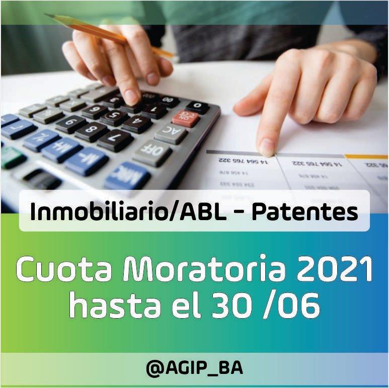 AGIP @AGIP_BA: MORATORIA 2021: Hasta el 30/06 tenés tiempo de regularizar tu deuda de Inmobiliario/ABL y Patentes, en un solo pago, con quita del 100% de los intereses. Más Información:  https://t.co/WddxcI7Wus https://t.co/ePkSu9UEXP