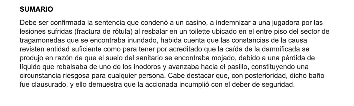 Derecho en Zapatillas @dzapatillas: Se cayó en el baño del casino por estar el piso mojado. Ahora la indemnizan con más de $ 400 mil (sumario SAIJ) https://t.co/16JUcnHBpY