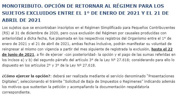 Blog del Contador @BlogDelContador: ????IMPORTANTE????  #MONOTRIBUTO. OPCIÓN DE RETORNAR AL RÉGIMEN PARA LOS SUJETOS EXCLUIDOS ENTRE EL 1° DE ENERO DE 2021 Y EL 21 DE ABRIL DE 2021.  ???? Plazo próximo a vencer. https://t.co/bQXlaokCc2