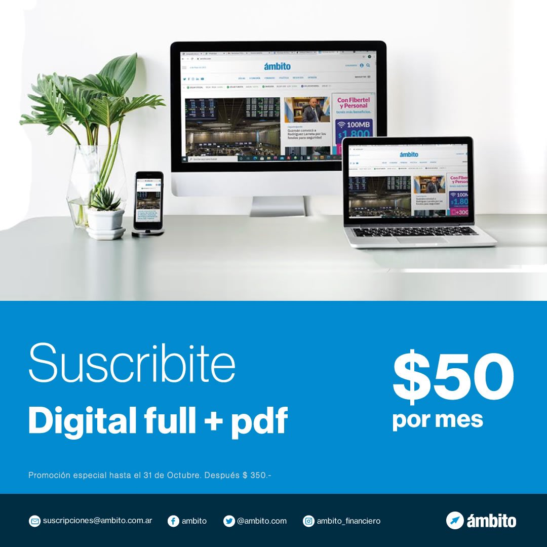 Ámbito financiero @Ambitocom: ???? #AmbitoCumple44  ???? Promo única: hasta el 31/10 pagando $50 podés recibir el diario digital y además:   ???? Acceso a todo el contenido web  ???? Información exclusiva y eventos  ???? Newsletter  ✍ Sumate a la comunidad de Ámbito acá   https://t.co/TE48FsdDJD https://t.co/W5wwdIMbiN