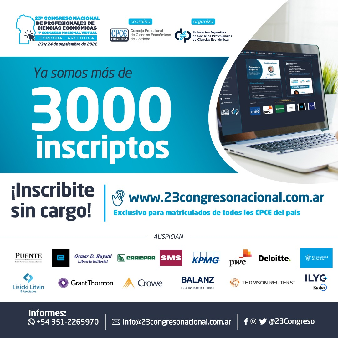 CPCE Córdoba @CPCECordoba: ¡Ya somos más de 3000 inscriptos!  ????Reserva tu lugar | Inscribite desde la web https://t.co/xynBXrCfs2   #23CongresoNacional #1CongresoNacional #CongresoNacional #CienciasEconómicas https://t.co/J1n94CIUNF