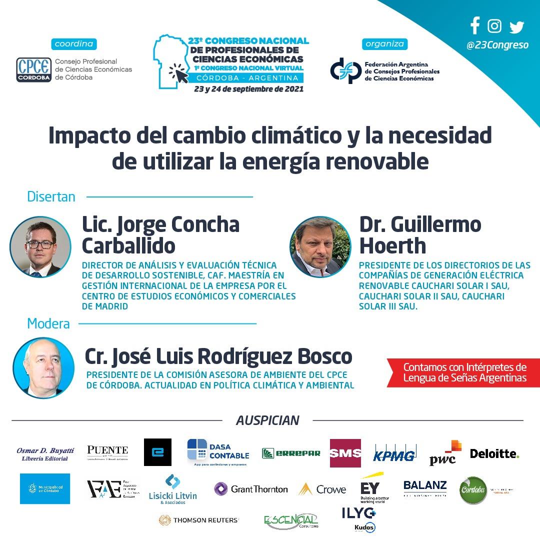 CPCE Córdoba @CPCECordoba: ???? Impacto del cambio climático y la necesidad de utilizar energía renovables   #23CongresoNacional #1CongresoNacional #CongresoNacional #CienciasEconómicas https://t.co/eYqZzHkIM9