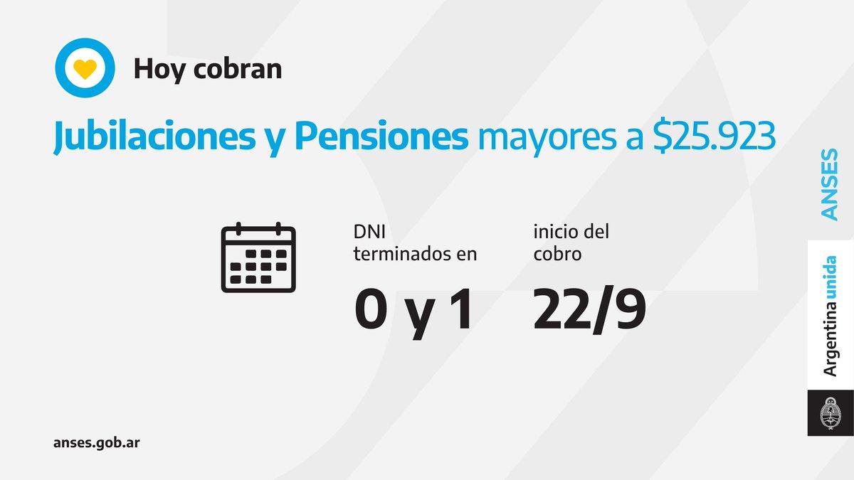 ANSES @ansesgob: ????️ Calendario de pago del 22 de septiembre: Jubilaciones y Pensiones (haberes que superen los $25.923). https://t.co/NA3M27y4RB