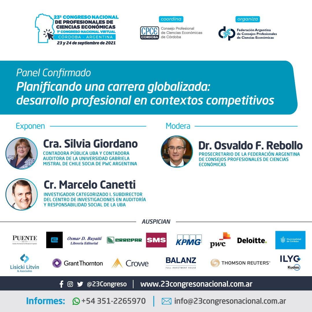 CPCE Córdoba @CPCECordoba: Panel confirmado ➡️ 'Planificando una carrera globalizada: desarrollo profesional en contextos competitivos'  #23CongresoNacional  #1CongresoNacionalVirtual  #23Congreso  #CienciasEconomicas https://t.co/dB5du1ysQx
