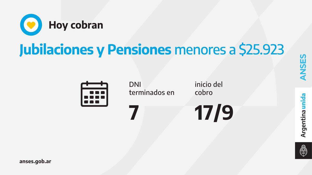 ANSES @ansesgob: ????️ Calendario de pago del 17 de septiembre: Jubilaciones y Pensiones (haberes que no superen los $25.923). https://t.co/UenMhmxcix