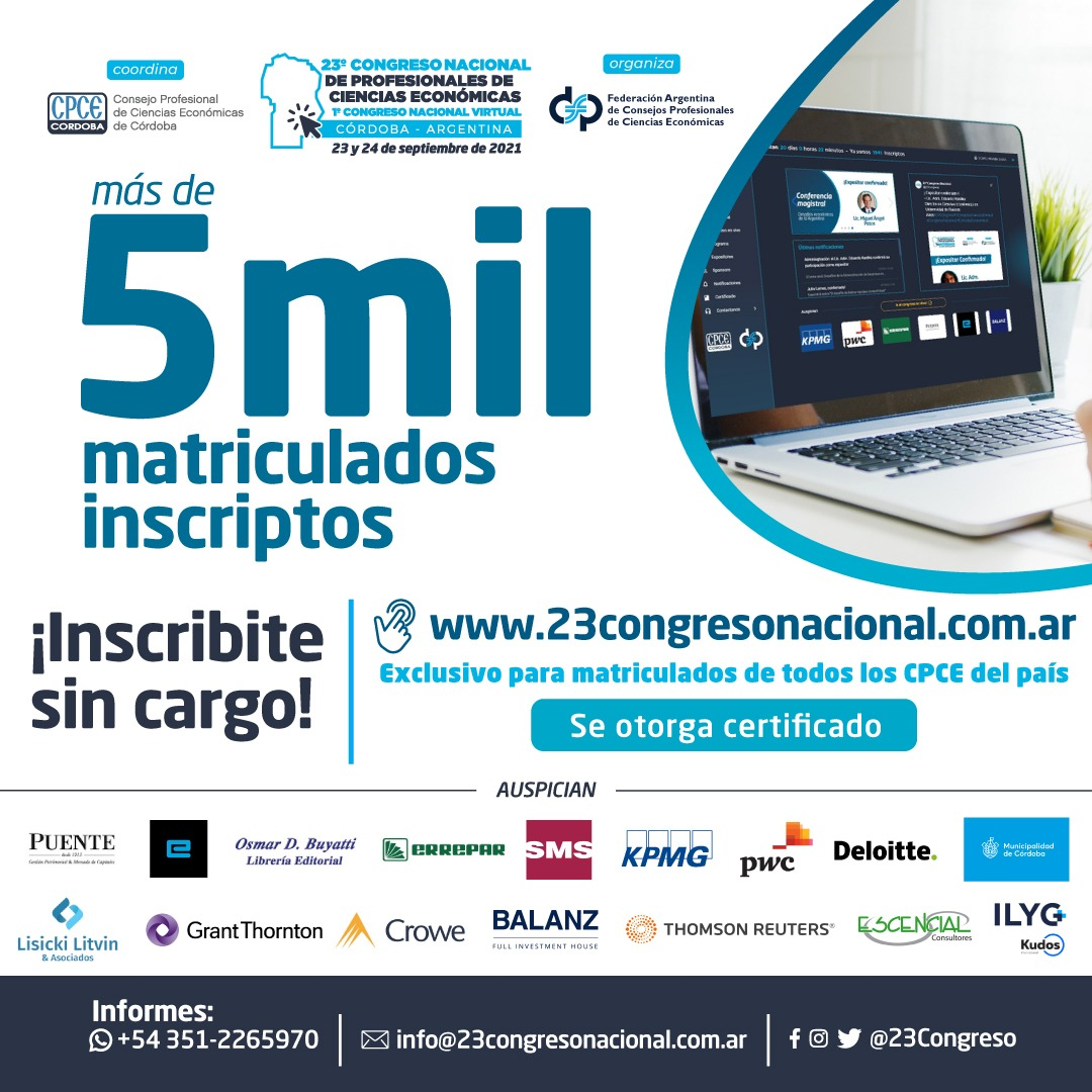 CPCE Córdoba @CPCECordoba: ¡5000 matriculados inscriptos!  ????Reserva tu lugar | Inscribite desde la web https://t.co/xynBXrCfs2   #23CongresoNacional #1CongresoNacional #CongresoNacional #CienciasEconómicas https://t.co/WpvTnbStdZ