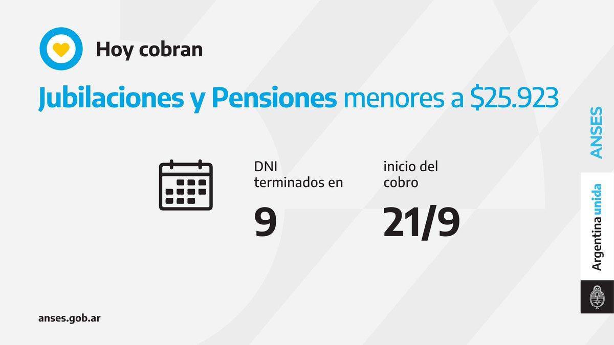 ANSES @ansesgob: ????️ Calendario de pago del 21 de septiembre: Jubilaciones y Pensiones (haberes que no superen los $25.923). https://t.co/lo36Nu4Wvf