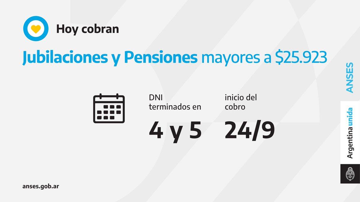 ANSES @ansesgob: ????️ Calendario de pago del 24 de septiembre: Jubilaciones y Pensiones (haberes que superen los $25.923). https://t.co/XT04PjjlZw
